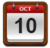 Calendar showing October 10