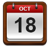 Calendar showing October 18