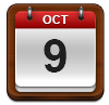 Calendar showing October 9