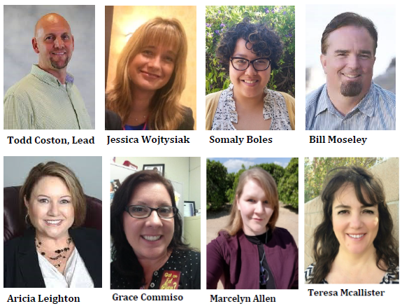 Strategic Directions core team.  Todd Coston, Jessica Wojtysiak, Somaly Boles, Bill Moseley, Aricia Leighton, Grace Commiso, Marcelyn Allen, and Teresa Mcallister